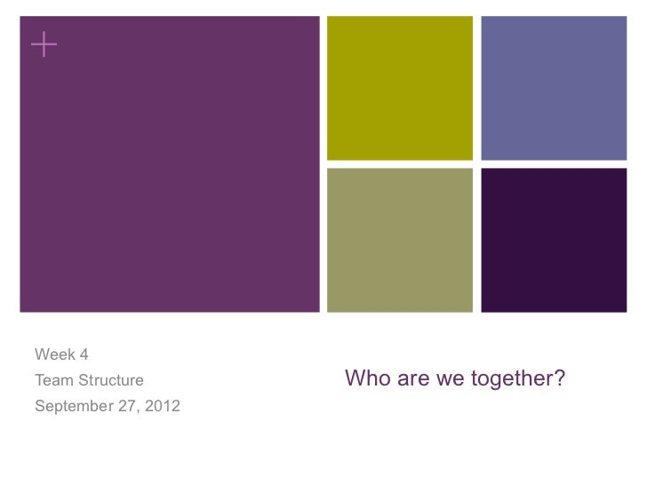 +Week 4Team Structure       Who are we together?September 27, 2012