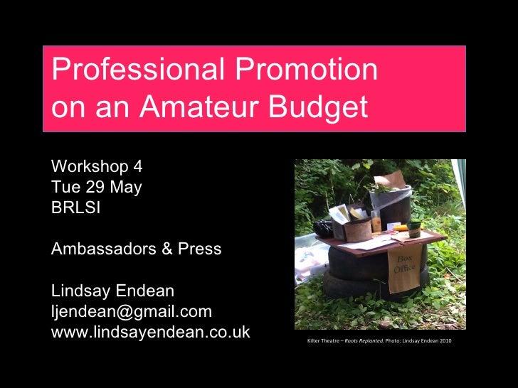 Professional Promotionon an Amateur BudgetWorkshop 4Tue 29 MayBRLSIAmbassadors & PressLindsay Endeanljendean@gmail.comwww....