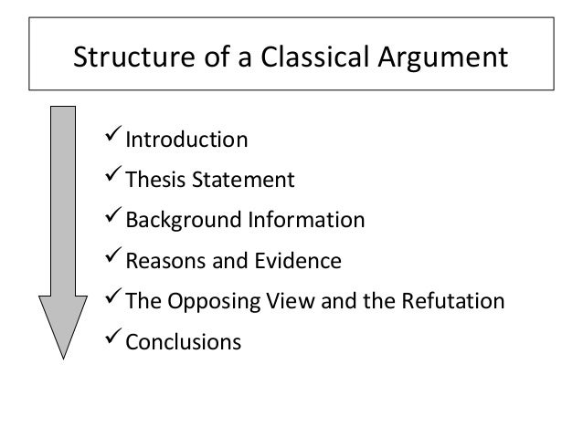diagram classical argument essay While some teachers consider persuasive papers and argument papers to be basically the same thing, it's usually safe to assume that an argument paper presents a stronger claim—possibly to a more resistant audience.