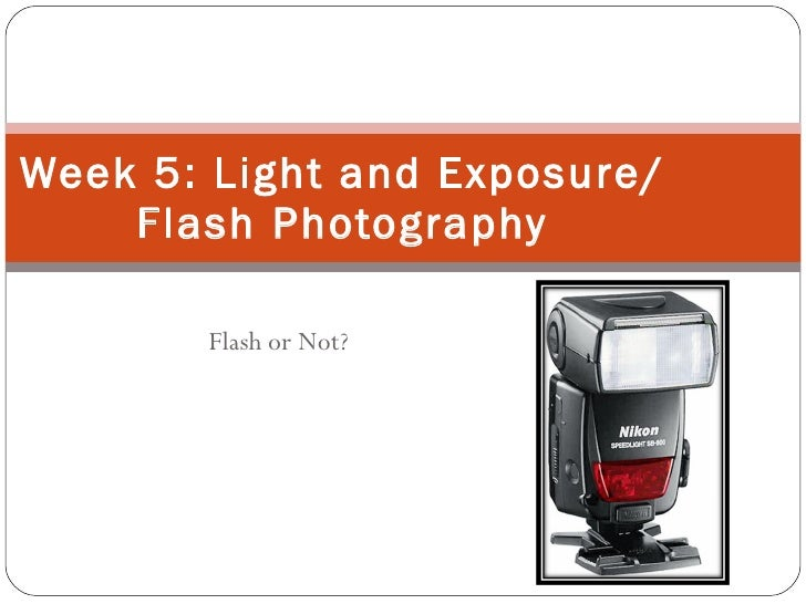 Flash or Not? Week 5: Light and Exposure/Flash Photography