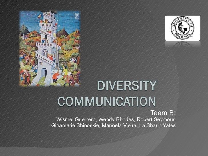 Team B: Wismel Guerrero, Wendy Rhodes, Robert Seymour, Ginamarie Shinoskie, Manoela Vieira, La Shaun Yates