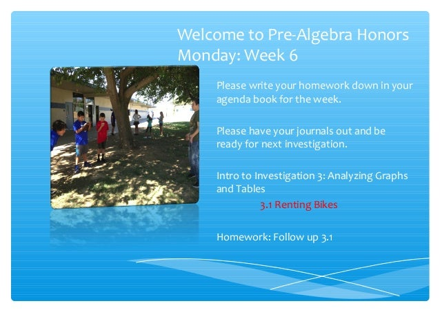 Welcome to Pre-Algebra Honors Monday: Week 6 Please write your homework down in your agenda book for the week. Please have...