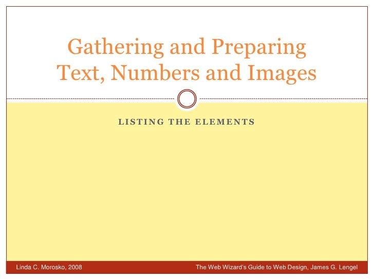 Week 6 1 Listing The Elements