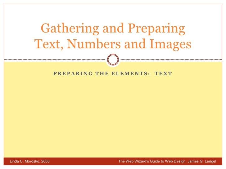 Week 6 2 Preparing The Elements Text
