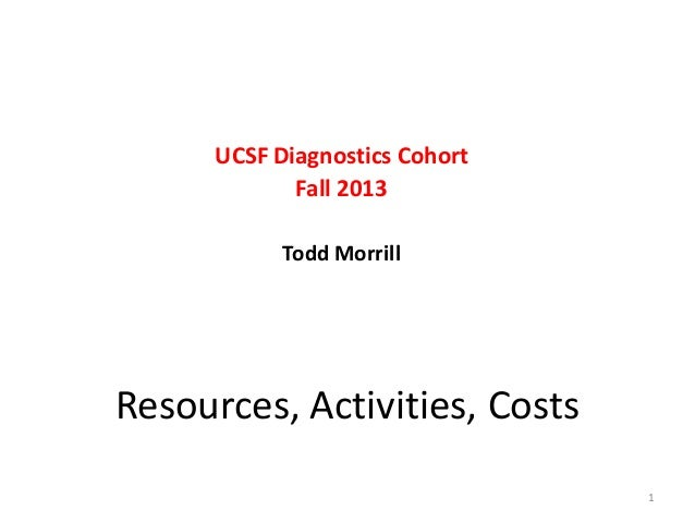 UCSF Diagnostics Cohort Fall 2013 Todd Morrill  Resources, Activities, Costs 1