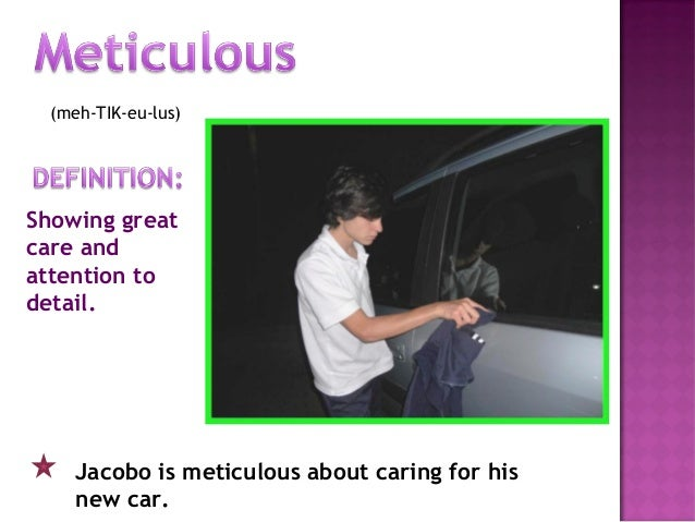 (meh-TIK-eu-lus) Showing great care and attention to detail. Jacobo is meticulous about caring for his new car.