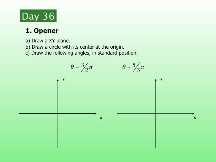 Day 361. Openera) Draw a XY plane.b) Draw a circle with its center at the origin.c) Draw the following angles, in standard...