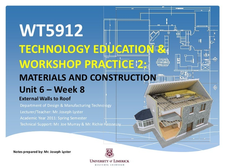 WT5912   TECHNOLOGY EDUCATION &   WORKSHOP PRACTICE 2:   MATERIALS AND CONSTRUCTION   Unit 6 – Week 8   External Walls to ...