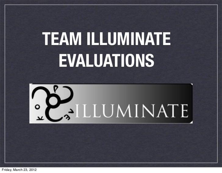 Week 9 team evaluations
