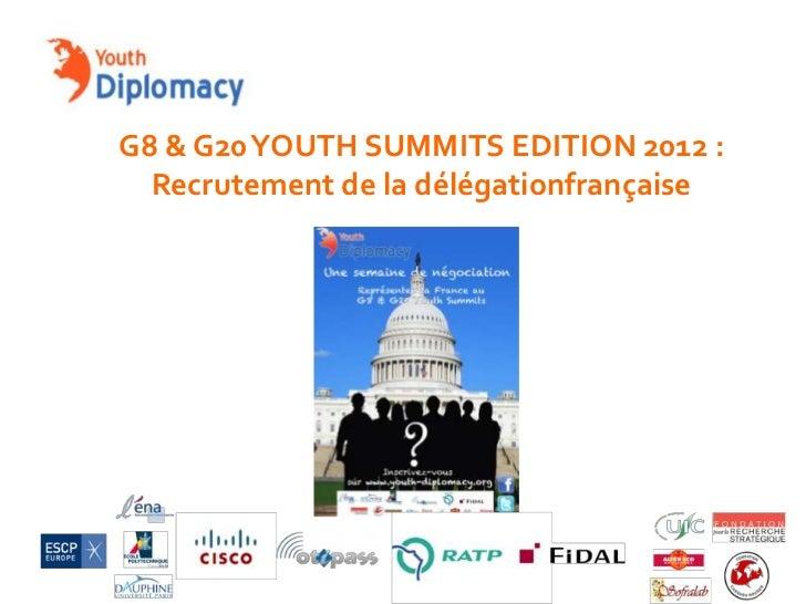 G8 & G20 YOUTH SUMMITS EDITION 2012 :  Recrutement de la délégationfrançaise