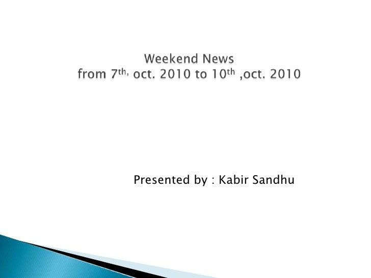 Weekend news