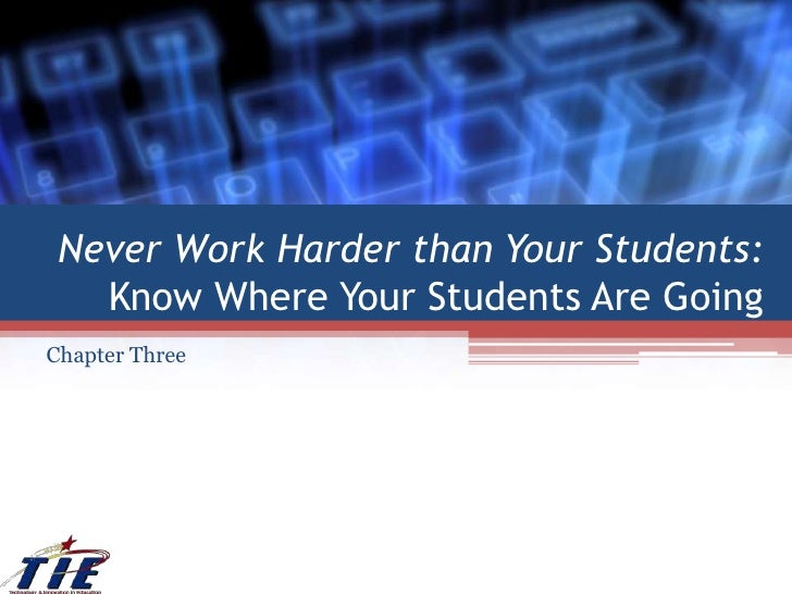 Never Work Harder than Your Students:  Know Where Your Students Are Going<br />Chapter Three<br />