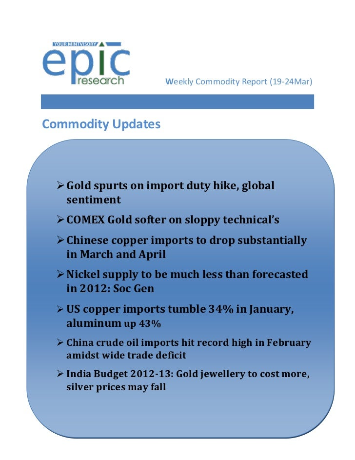 Weekly Commodity Report (19-24Mar)Commodity Updates   Gold spurts on import duty hike, global    sentiment   COMEX Gold ...
