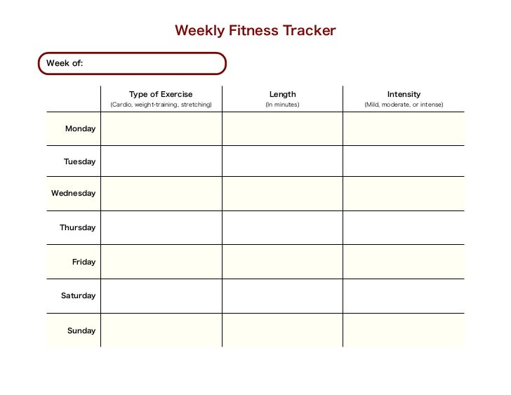 Weekly Fitness TrackerWeek of:                    Type of Exercise                   Length                Intensity      ...