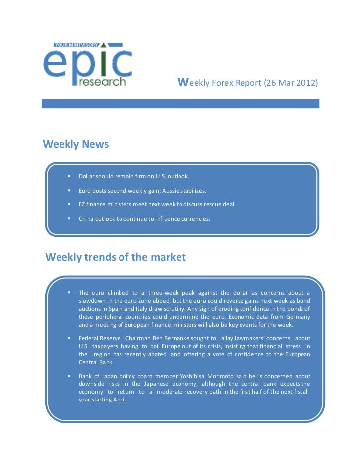 WEEKLY FOREX REPORT BY EPIC RESEARCH-26 MARCH 2012