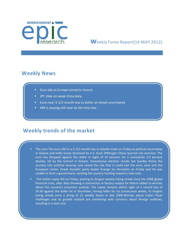 WEEKLY FOREX REPORT BY EPIC RESEARCH-21 MAY 2012