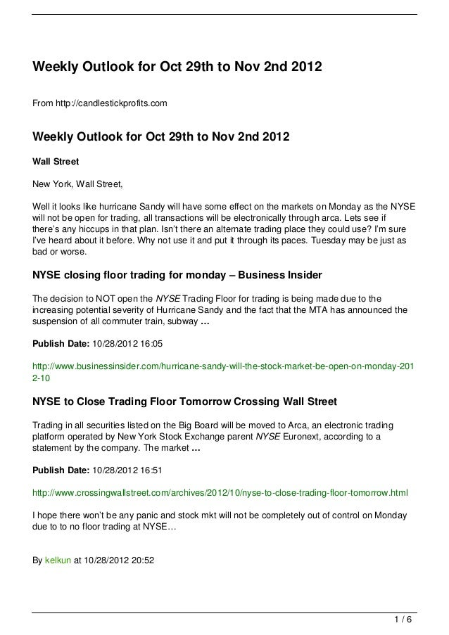 Weekly Outlook for Oct 29th to Nov 2nd 2012
