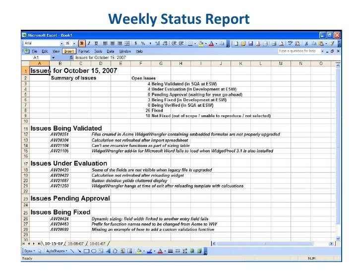 Weekly Project Status Report Template Excel  TvsputnikTk
