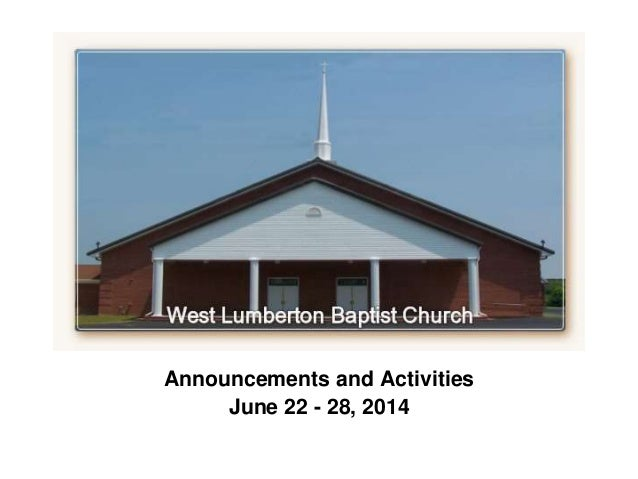 Weekly Announcements for June 22 - 28