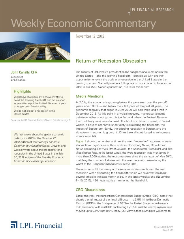 Weekly Economic Commentary11/12/2012 from LPL Research