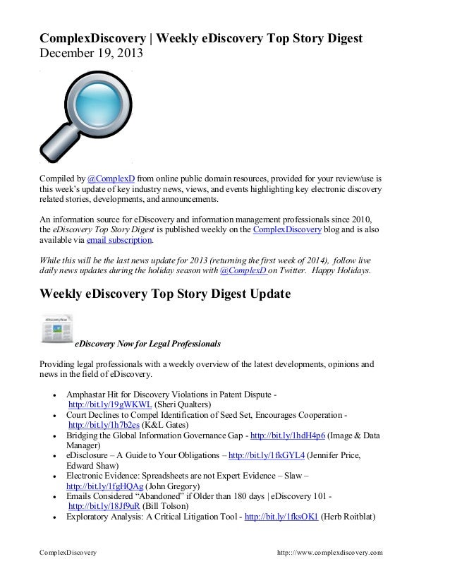 ComplexDiscovery | Weekly eDiscovery Top Story Digest December 19, 2013  Compiled by @ComplexD from online public domain r...