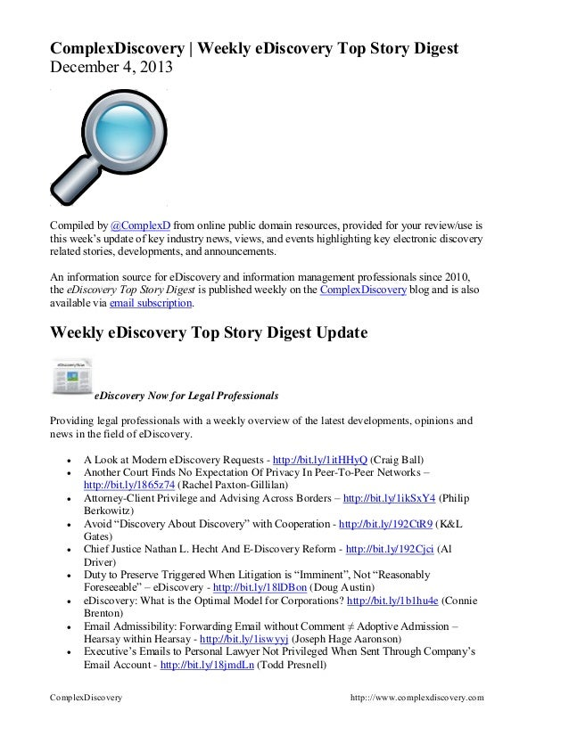 ComplexDiscovery | Weekly eDiscovery Top Story Digest December 4, 2013  Compiled by @ComplexD from online public domain re...