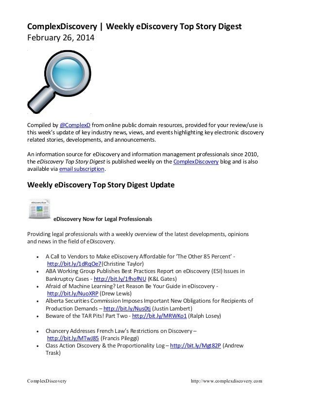 ComplexDiscovery | Weekly eDiscovery Top Story Digest February 26, 2014  Compiled by @ComplexD from online public domain r...