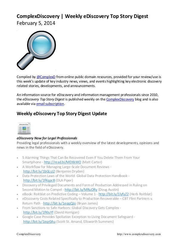 ComplexDiscovery | Weekly eDiscovery Top Story Digest February 5, 2014  Compiled by @ComplexD from online public domain re...