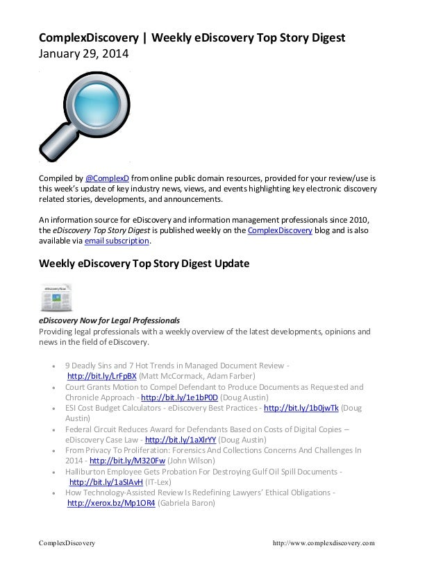Weekly eDiscovery Top Story Digest – January 29, 2014