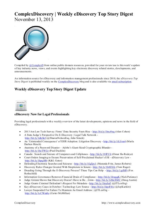 ComplexDiscovery | Weekly eDiscovery Top Story Digest November 13, 2013  Compiled by @ComplexD from online public domai...