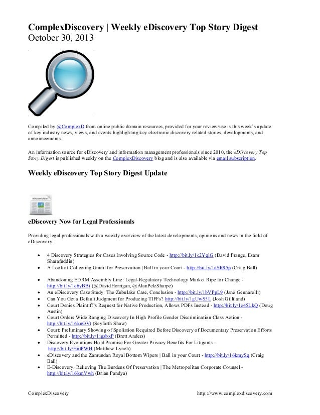 ComplexDiscovery | Weekly eDiscovery Top Story Digest October 30, 2013  Compiled by @ComplexD from online public domain re...