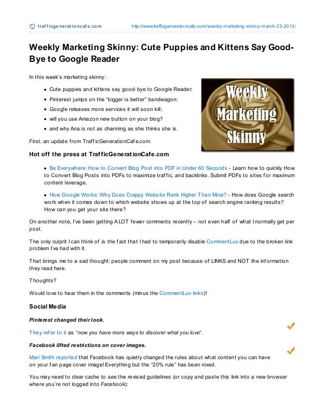 Weekly Marketing Skinny: Cute Puppies and Kittens Say Good-Bye to Google Reader