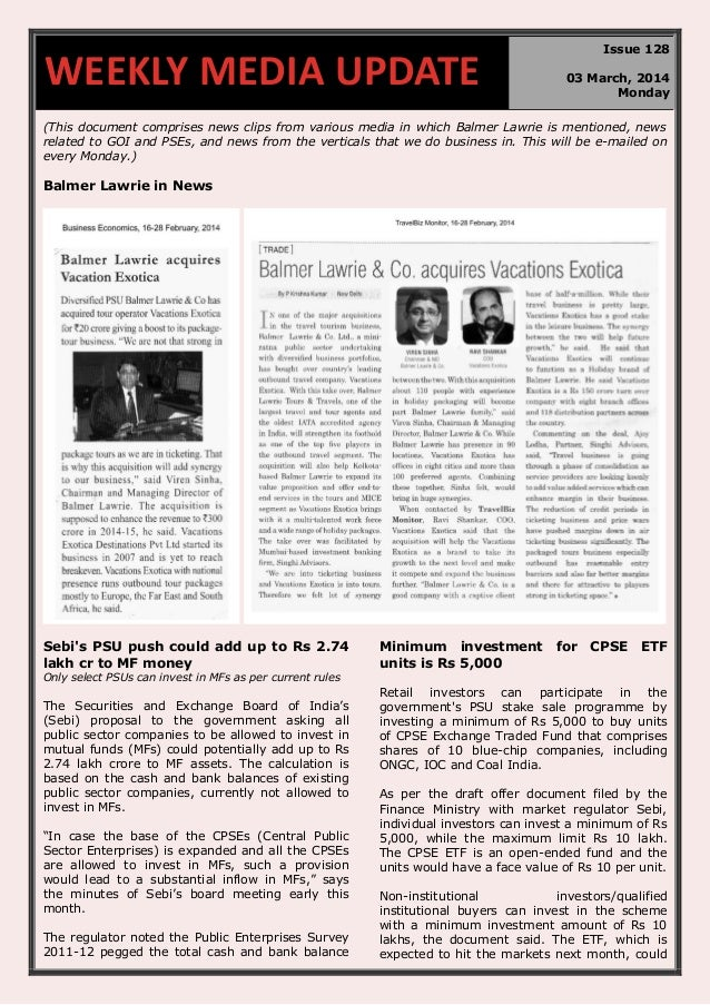 WEEKLY MEDIA UPDATE  Issue 128 03 March, 2014 Monday  (This document comprises news clips from various media in which Balm...