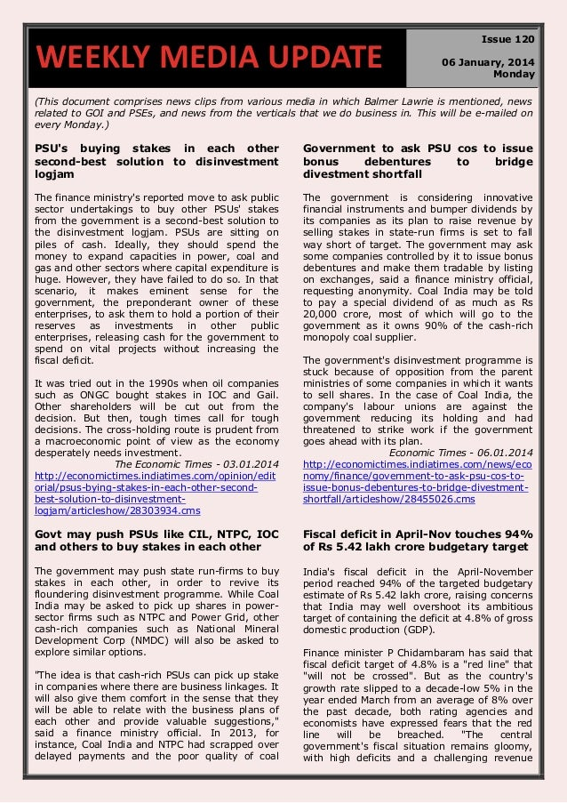 WEEKLY MEDIA UPDATE  Issue 120 06 January, 2014 Monday  (This document comprises news clips from various media in which Ba...