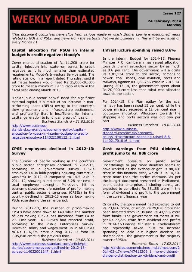 Weekly media update 24.02.2014