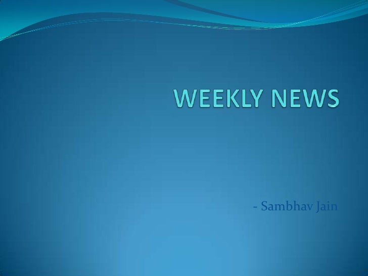 Weekly news 13