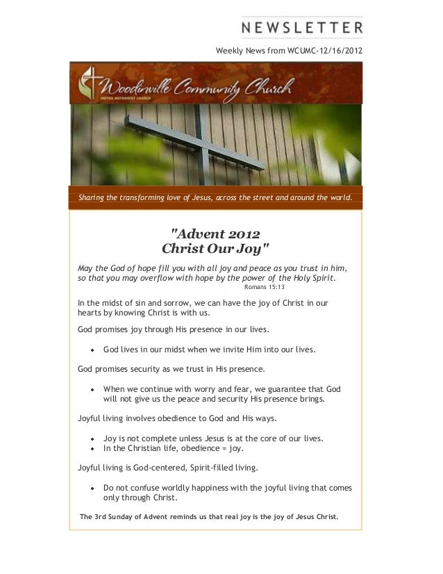 Weekly news from WCUMC 12 16 2012