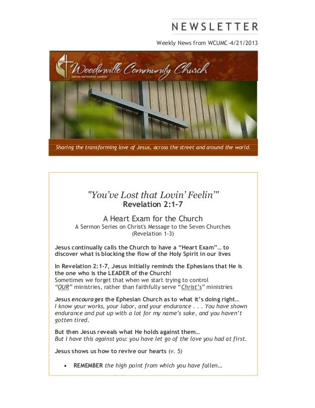 """Weekly News from WCUMC-4/21/2013Sharing the transforming love of Jesus, across the street and around the world.""""You've Los..."""