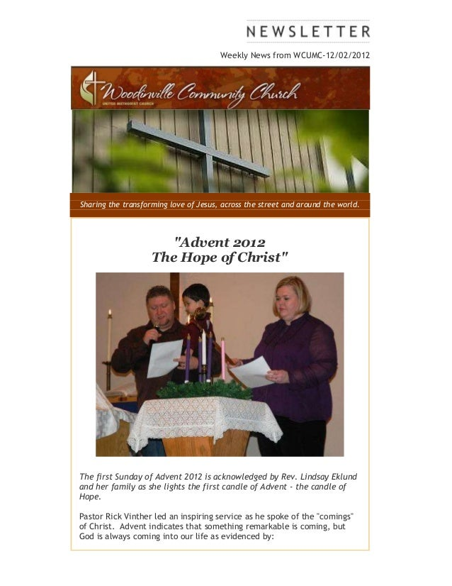 Weekly News from WCUMC-12/02/2012Sharing the transforming love of Jesus, across the street and around the world.          ...