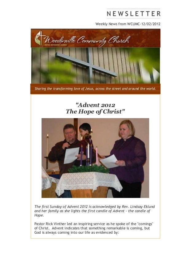 Weekly news from WCUMC Dec. 2 2012
