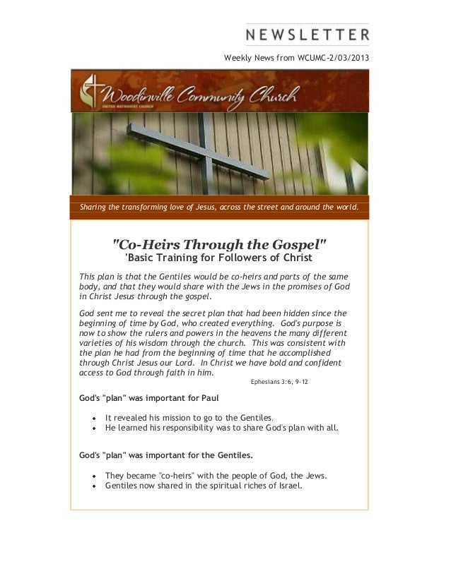 """Weekly News from WCUMC-2/03/2013Sharing the transforming love of Jesus, across the street and around the world.         """"C..."""