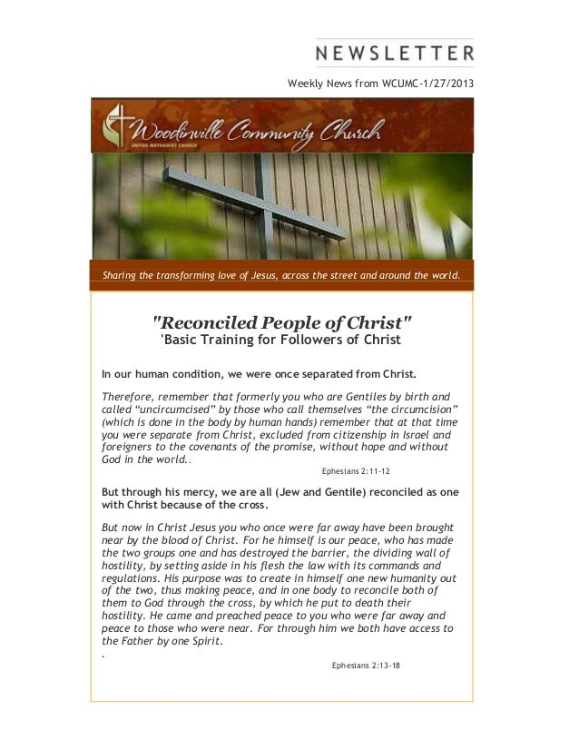 """Weekly News from WCUMC-1/27/2013Sharing the transforming love of Jesus, across the street and around the world.          """"..."""