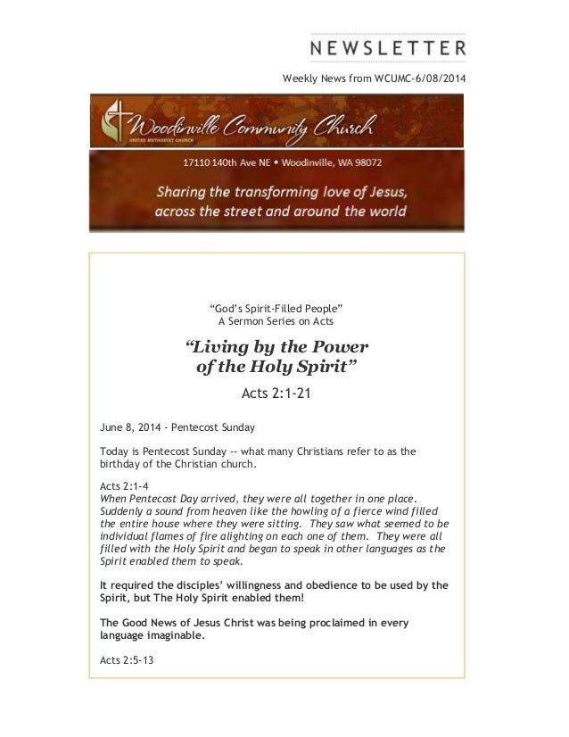 """Weekly News from WCUMC-6/08/2014 """"God's Spirit-Filled People"""" A Sermon Series on Acts """"Living by the Power of the Holy Spi..."""