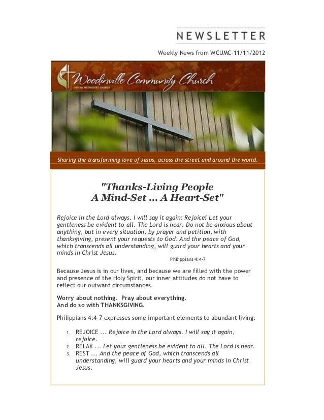 Weekly news from WCUMC Nov 11, 2012