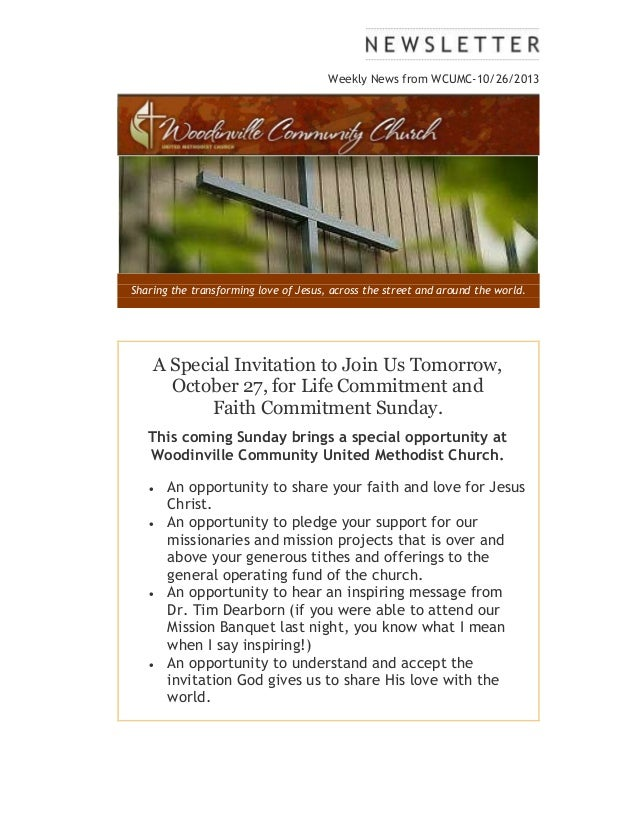 Weekly News from WCUMC-10/26/2013  Sharing the transforming love of Jesus, across the street and around the world.  A Spec...