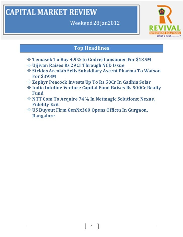 Top Headlines Temasek To Buy 4.9% In Godrej Consumer For $135M Ujjivan Raises Rs 29Cr Through NCD Issue Strides Arcolab...