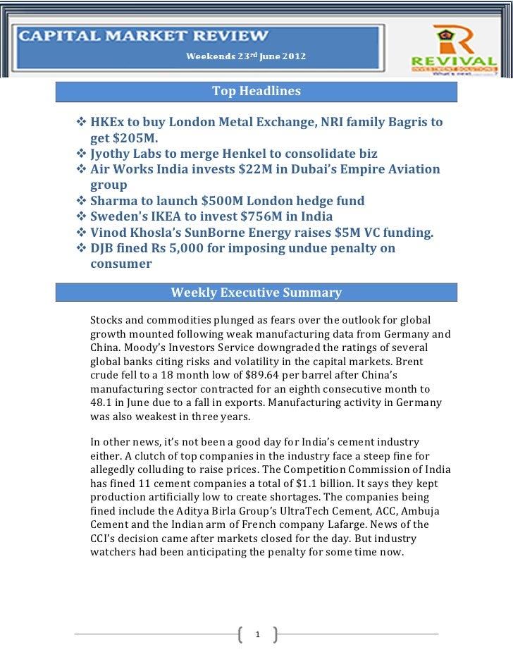 Top Headlines HKEx to buy London Metal Exchange, NRI family Bagris to  get $205M. Jyothy Labs to merge Henkel to consoli...