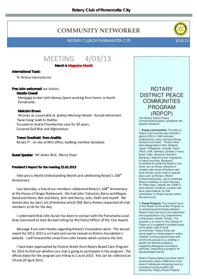Rotary Club of Parramatta City                               COMMUNITY NETWORKER                                      ROTA...