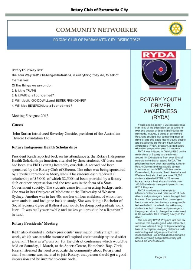 Weekly newsletter For Rotary Club of Parramatta City 05/08/13