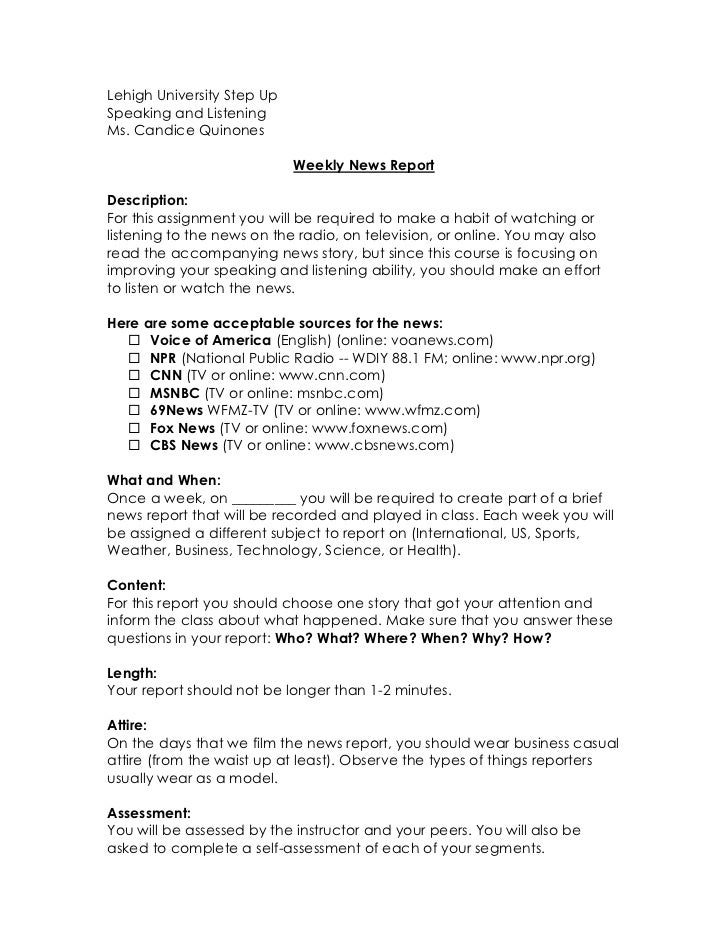 Lehigh University Step Up<br />Speaking and Listening<br />Ms. Candice Quinones<br />Weekly News Report<br />Description:<...